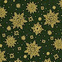 The Night Before Christmas - Gilded Snowflakes on Deep Green