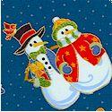 Holiday Joy - Gilded Holiday Snowmen Scenes by Nancy Murty