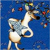 Gilded Tossed Whimsical Reindeer on Blue - LTD. YARDAGE AVAILABLE