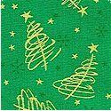 Season's Greetings - Tossed Metallic Christmas Trees on Green
