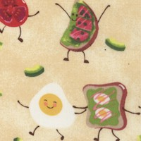 Dancing Breakfast on Yellow - SALE! (ONE YARD MINIMUM PURCHASE)