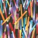 Horizons - Tossed Colorful and Gilded Sticks on Black - SALE! (ONE YARD MINIMUM PURCHASE)