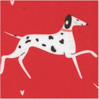 Whiskers and Tails - Dashing Dalmatians on Red