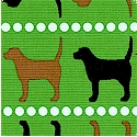 Pooches and Pickups Vertical Stripe on Green