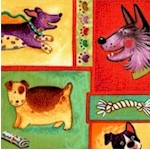 Smoochie Poochie -1 Whimsical Dog Portrait Collage by Laurie Cook