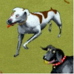Dogs Rule - Tossed Whimsical Dogs on Green by Mark Uriksen