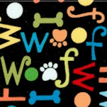 Dog's World - Woof, Dog Bones and Pawprints on Black