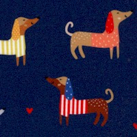 Whiskers and Tails - Decked out Dachshunds on Blue