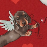 Puppy Love - Tossed Cherubic Canine Cupids on Red
