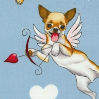 Puppy Love - Tossed Cherubic Canine Cupids on Blue