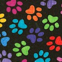 Tosssed Rainbow Pawprints on Black