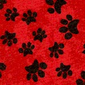 Garden Frolic - Cat and Dog Pawprints on Red