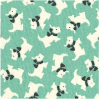 Aunt Grace's Keepsake - Petite Scotties on Green