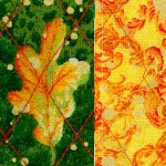Reversible Quilted Changing Seasons - Gilded Fall Foliage Collage (DFQ-autumn-q288)