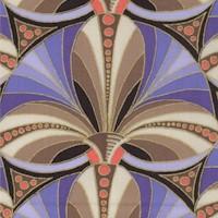 Camden Café - Elegant Gilded Art Deco Fan in Lavender and Camel