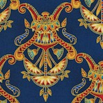 Valley of the Kings - Gilded Egyptian Motifs on Navy Blue