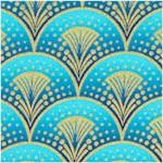 Rhapsody in Blue - Gilded Egyptian Style Fanfare on Blue