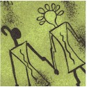 African Inspirations - Tossed Primitive Art on Green by Kaye England