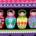 Colorful Rows of Matryoshka Dolls, Birds and Flowers on Black