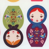 Little Kukla - Russian Matroyshka Dolls on Ivory