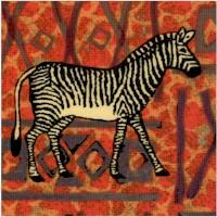 Kente Cloth - Safari Animals on Textured Background