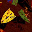 African Mask - Tossed Masks on Brown