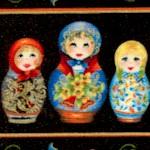 Kiev 2 - Elegant Gilded Russian Doll  Flower and Troika Vertical Stripe - LTD. YARDAGE AVAILABLE