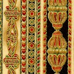 Passage to India - Gilded Ornate Vertical Stripe (ETH-stripe-U996)