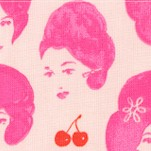 Fruit Dots - Retro Women and Cherries in Pink