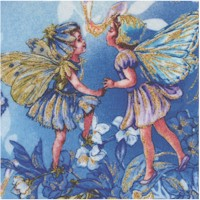Dawn Fairies with Stardush Glitter on Blue by Cecily Mary Barker