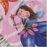 Tossed Whimsical Flower Faires with Glitter on Pink