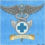 What the Doctor Ordered - Medical Symbols on Blue by Dan Morris (FIRE-doctor-X901)