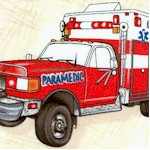 Emergency - Tossed Ambulances on Textured Cream  (FIRE-emergency-X179)