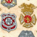 All Fired Up - Firefighter Badges and Malteses on Beige by Dan Morris