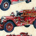 All Fired Up -  Vintage Firetrucks on Beige Texture by Dan Morris