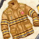 All Fired Up - Firefighter Equipment and Uniforms on Beige by Dan Morris