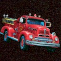 Local Heroes - Tossed Vintage Firetrucks on Black
