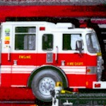 Firefighters Rock - Fire Trucks VERTICAL PRINT by Maria Kalinowski