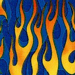 Rolling Thunder Flames on Blue by Dan Morris - LTD. YARDAGE AVAILABLE