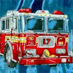 Five Alarm - Firetrucks and Firefighters on Blue by Dan Morris