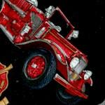 Five Alarm - Tossed Firetrucks, Symbols and Badges on Black by Dan Morris