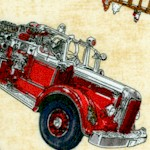 Five Alarm - Tossed Firetrucks, Symbols and Badges on Beige by Dan Morris