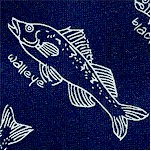 Fishline - Tossed Fish with Names on Navy Blue by Kristen Berger - LTD. YARDAGE AVAILABLE (.625 YD.)