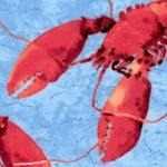 Fresh Catch - Tossed Lobsters on Blue