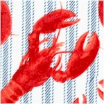 Fresh Catch - Lobsters on Ticking Stripe