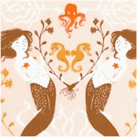 Mendocino - Delicate Mermaids on Beige by Heather Ross