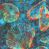 Oceana - Tossed Seashells and Starfish on Teal Batik