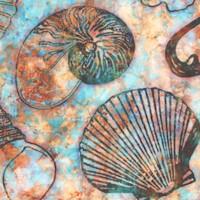 Oceana - Tossed Seashells and Starfish on Blue Batik