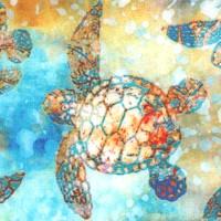 Oceana - Deep Sea Turtles on Blue Batik