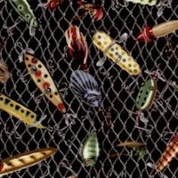 Keep It Reel - Tossed Fishing Lures on Black